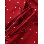 Stylish Lace-Up Stars Print Women's Red Dress deal