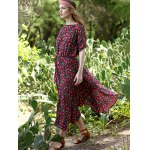 Bohemian Small Floral Print Women's Midi Dress for sale