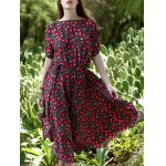 Bohemian Small Floral Print Women's Midi Dress