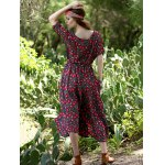 Bohemian Small Floral Print Women's Midi Dress photo