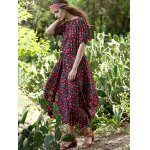 best Bohemian Small Floral Print Women's Midi Dress