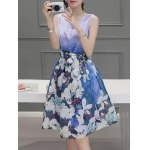 cheap Sweet Scoop Neck Sleeveless Floral Print Pleated Dress For Women