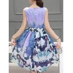 Sweet Scoop Neck Sleeveless Floral Print Pleated Dress For Women for sale
