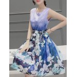 Sweet Scoop Neck Sleeveless Floral Print Pleated Dress For Women deal