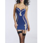 Stylish Strappy Embroidered Babydoll with Garters For Women