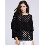 cheap Women's Chic Hollow Out Laced Jewel Neck Blouse