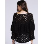 Women's Chic Hollow Out Laced Jewel Neck Blouse for sale