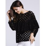 Women's Chic Hollow Out Laced Jewel Neck Blouse deal