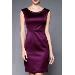 Beading Embellished Solid Color Dress