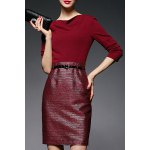 cheap High Waist Solid Color Belted Dress