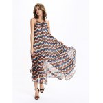 Alluring Spaghetti Strap Zig Zag Print Women's Chiffon Dress for sale