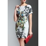 Cuff Sleeve Slimming Print Dress for sale