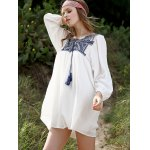cheap Ethnic Style Long Sleeve Round Neck Embroidery Dress For Women