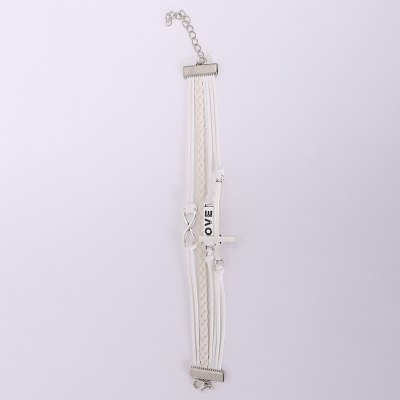 Cross and Letter Embellished Multilayered Charm Bracelet For Women
