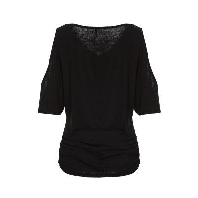 Trendy V-Neck Half Sleeve Cut Out Pure Color Womens T-ShirtWomens Clothing<br>Trendy V-Neck Half Sleeve Cut Out Pure Color Womens T-Shirt<br><br>Material: Polyester<br>Clothing Length: Regular<br>Sleeve Length: Half<br>Collar: V-Neck<br>Style: Casual<br>Season: Summer<br>Pattern Type: Solid<br>Weight: 0.206kg<br>Package Contents: 1 x T-Shirt