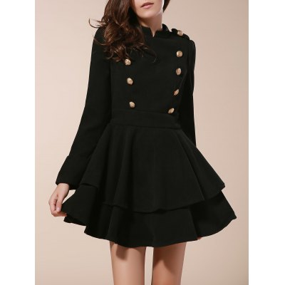 Stand Collar Buttons Embellished Long Sleeve Ruffles Dress
