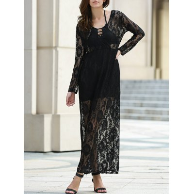 Plunging Neckline Long Sleeve Dress For Women