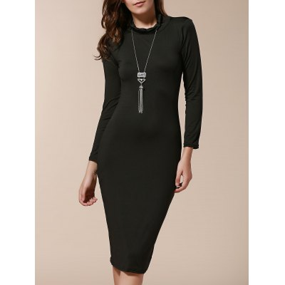 Turtle Neck Long Sleeve Solid Color Slimming Dress