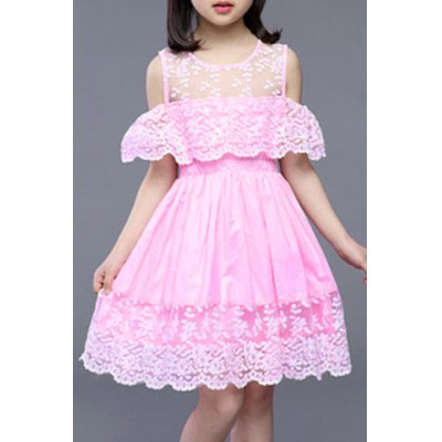 Stylish Hook Flower Design Hollow Out Girl's Dress