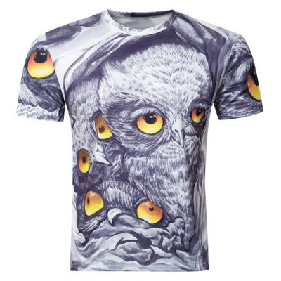 Owl Printing Round Collar Short Sleeve T-Shirt For Men
