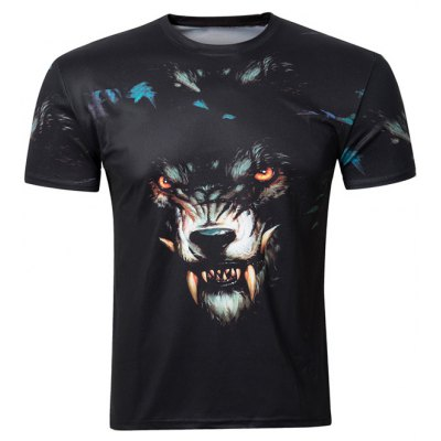 3D Wolf Printing Round Collar Short Sleeve T-Shirt For Men