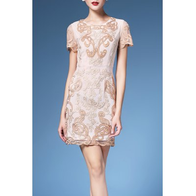 Floral Embroidered Shift Dress For Women