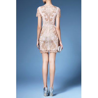 Floral Embroidered Shift Dress For WomenDesigner Dresses<br>Floral Embroidered Shift Dress For Women<br><br>Style: Brief<br>Occasion: Bridal,Day,Evening,Night Out,Work<br>Material: Polyester<br>Composition: 100% Polyester<br>Silhouette: Straight<br>Dresses Length: Mini<br>Neckline: Jewel Neck<br>Sleeve Length: Short Sleeves<br>Pattern Type: Others<br>With Belt: No<br>Season: Summer<br>Weight: 0.470kg<br>Package Contents: 1 x Dress