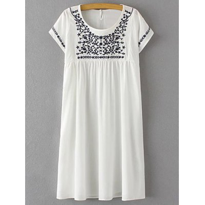 Scoop Neck Short Sleeve Floral Embroidery Dress