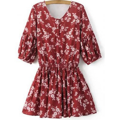 Stylish V Neck Half Sleeve Floral Women's Dress
