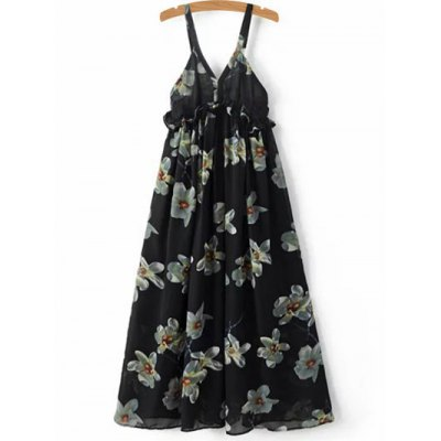 Stylish Cami Floral Print A-Line Women's Dress