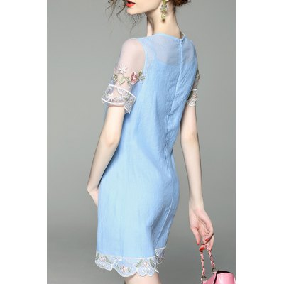 Flower Embroidered See Through Two Piece DressDesigner Dresses<br>Flower Embroidered See Through Two Piece Dress<br><br>Style: Brief<br>Occasion: Beach,Causal,Work<br>Material: Cotton,Silk<br>Composition: Outer Composition:100% Silk&lt;br&gt;Lining Composition:100% Cotton<br>Silhouette: A-Line<br>Dresses Length: Mini<br>Neckline: Round Collar<br>Sleeve Length: Short Sleeves<br>Pattern Type: Floral<br>With Belt: No<br>Season: Summer<br>Weight: 0.390kg<br>Package Contents: 1 x Dress  1 x Cami Dress