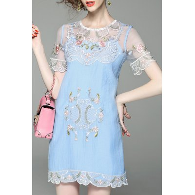 See Through Flower Embroidered Two Piece Dress
