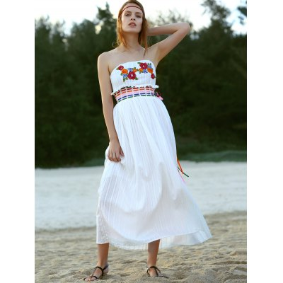 Ethnic Style Strapless Floral Embroidery Maxi Dress For Women