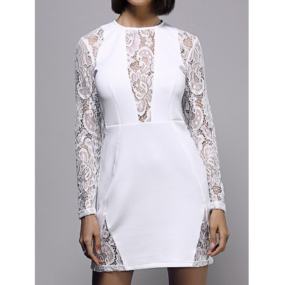 Round Neck Long Sleeve White Lace Spliced Dress