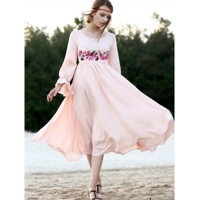 Stylish Round Neck 3/4 Sleeve Floral Embroidered Women's Dress