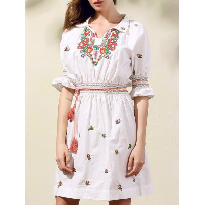 Stylish Shirt Collar Half Sleeve Ethnic Style Embroidery Women's Dress
