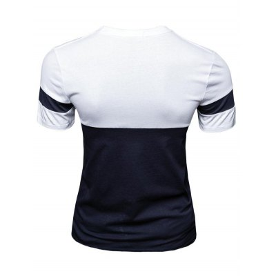 Casual Color Block Letter Printed Short Sleeve T-Shirt For Men