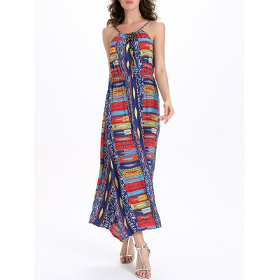 Halter Elastic Waist Hit Color Women's Maxi Print Dress