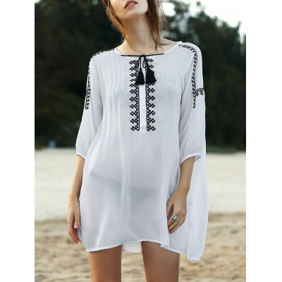 Round Neck 3/4 Sleeve Loose Floral Embroidered Dress