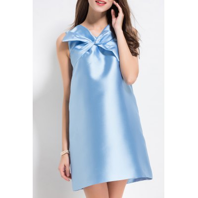 V Neck Bowknot Mini Dress