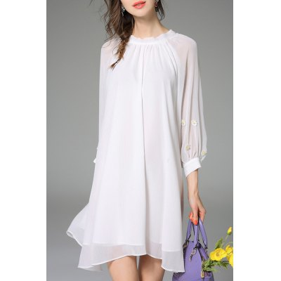 Loose Pure Color Layered Dress