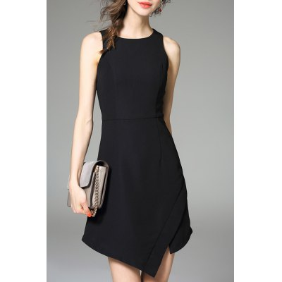 Solid Color Irregular Hem Dress