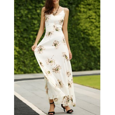Trendy Spaghetti Straps Backless Floral Print Maxi Dress For Women