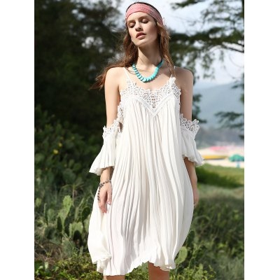 Fashion Cami Lace Spliced Pleated White Chiffon Dress For Women