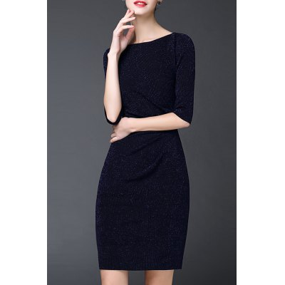 Slimming Pure Color Ruched Dress