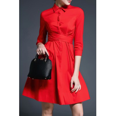 A-Line Pure Color Belted Dress