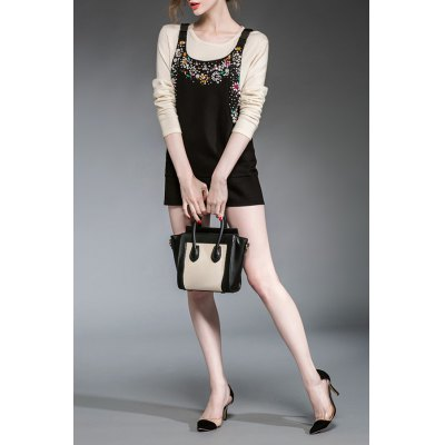 Fitted Pure Color Beading Dress