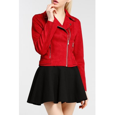 Solid Color Zipper Fly Jacket