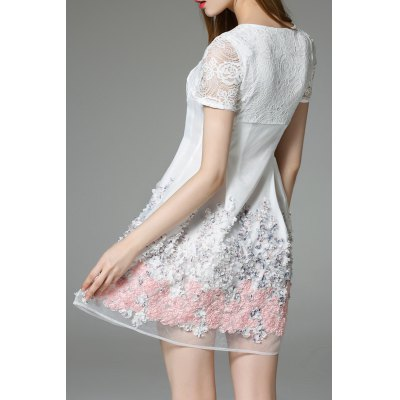 Lace Panel Short Flare DressDesigner Dresses<br>Lace Panel Short Flare Dress<br><br>Style: A Line<br>Material: Polyester<br>Composition: 100% Polyester<br>Dresses Length: Mini<br>Neckline: Round Collar<br>Sleeve Length: Short Sleeves<br>Pattern Type: Floral<br>With Belt: No<br>Season: Summer<br>Weight: 0.400kg<br>Package Contents: 1 x Dress