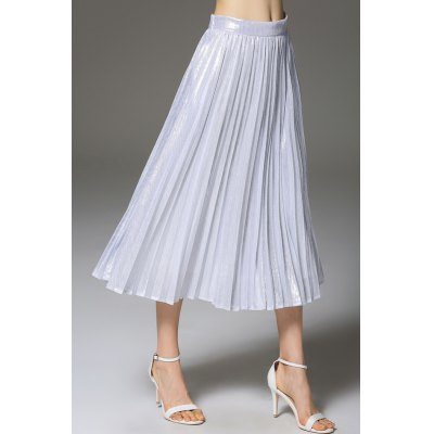 A-Line Pure Color Pleated Skirt